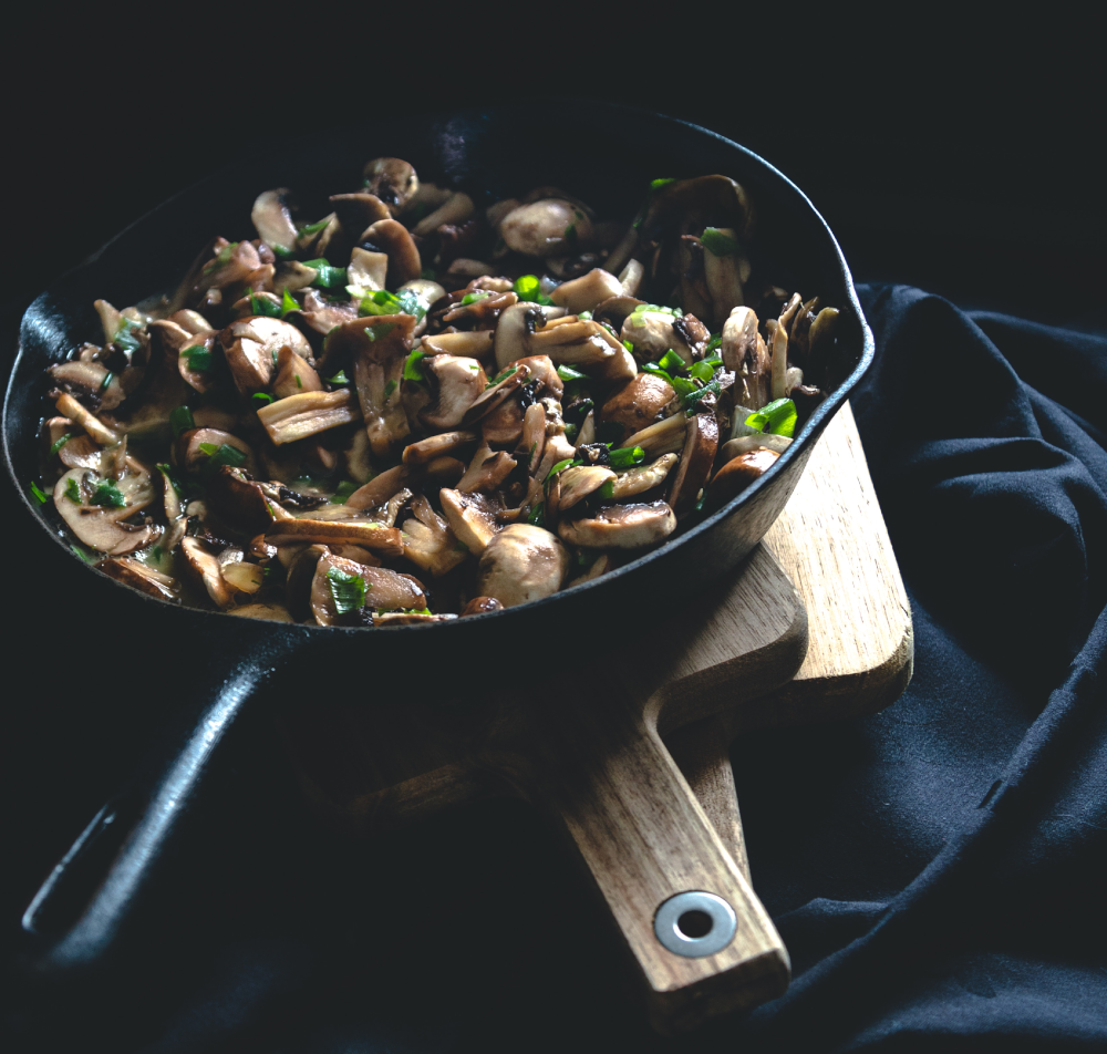 A pan with mushrooms.